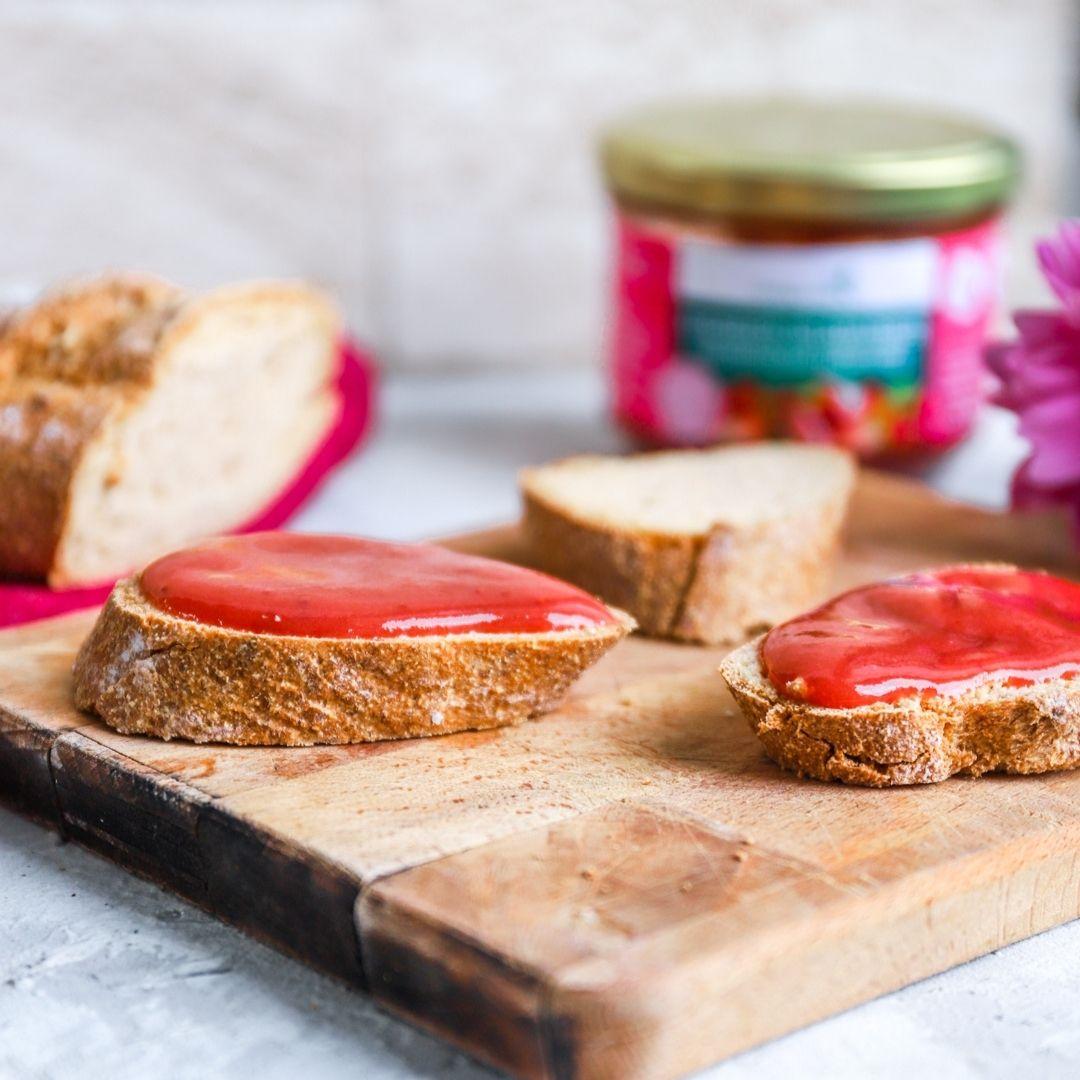 Erdbeer-Rhabarber-Low-Carb-Marmelade