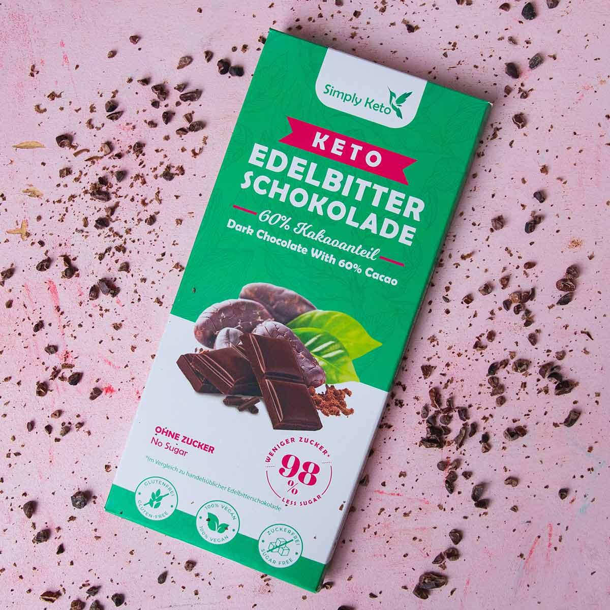 Keto Edelbitter Schokolade   8 Kakao