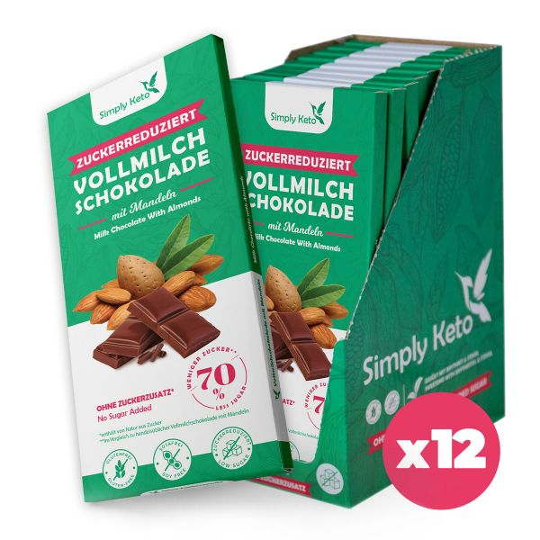 Zuckerreduzierte Vollmilch Schokolade mit Mandeln   40% Kakao   12er Pack ²