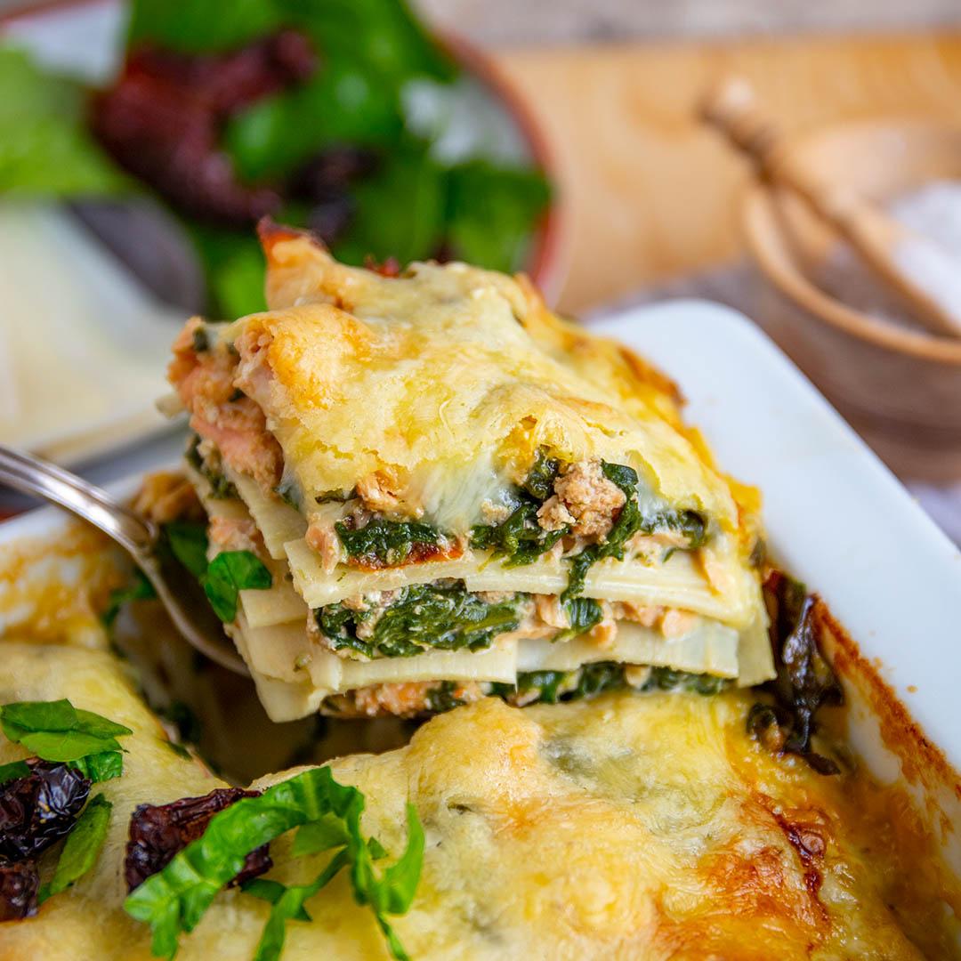 Low-Carb & Keto Lachs-Spinat Lasagne