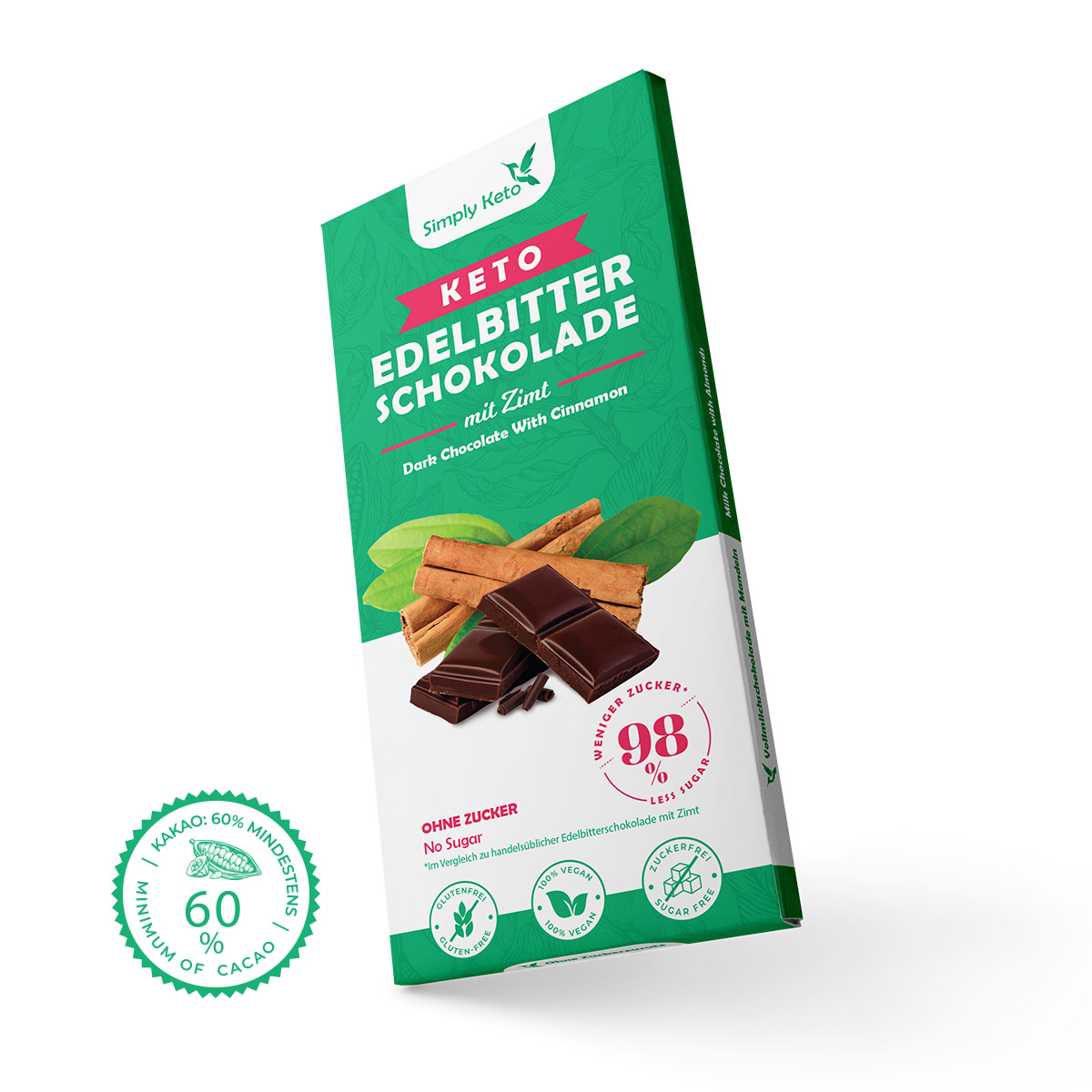 Keto Edelbitter Schokolade mit Zimt   8 Kakao