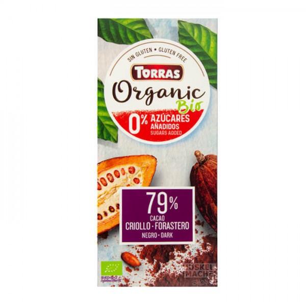 Zuckerfreie Schokolade 79% Edelbitter   Bio