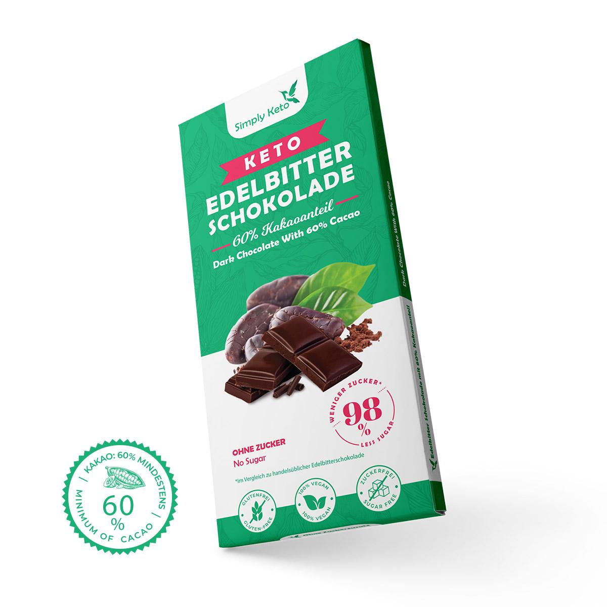 12+ Keto Edelbitter Schokolade   8 Kakao Stock