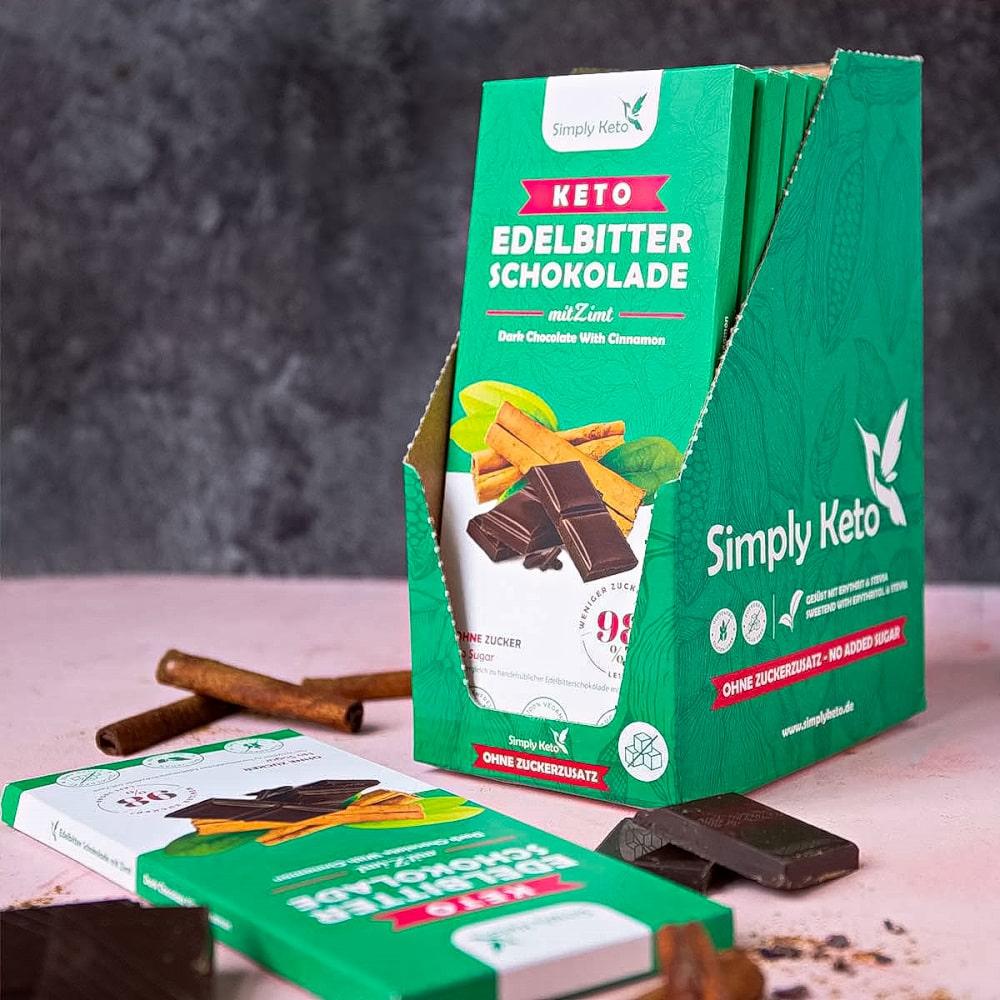 Keto Edelbitter Schokolade mit Zimt   8 Kakao   8er Pack