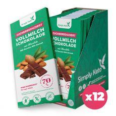 Zuckerreduzierte Vollmilch Schokolade mit Mandeln | 40% Kakao | 12er Pack ²