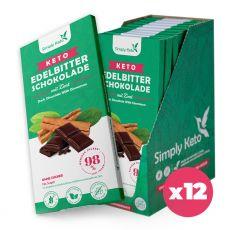 Keto Edelbitter Schokolade mit Zimt | 60% Kakao | 12er Pack