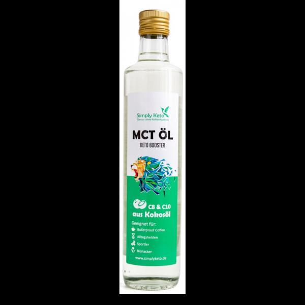 Simply Keto MCT Öl aus Kokos in der Glasflasche. Ohne Palmöl