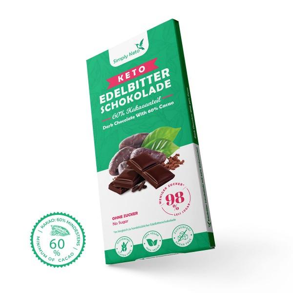 Keto Edelbitter Schokolade | 60% Kakao